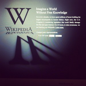 The January, 2012, Wikipedia blackout page. From @brainpicker on Instagram.
